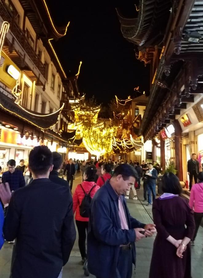 via commerciale in notturna, Shanghai